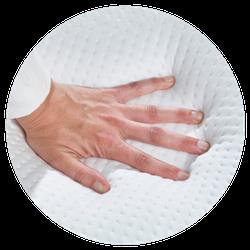 Hand drukken op ergonomische matras