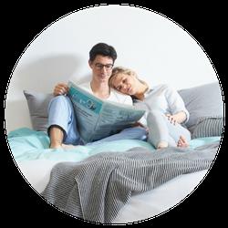 Ergonomische matras koppel op bed